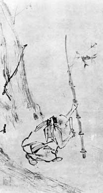 Huineng drawing cutting bamboo